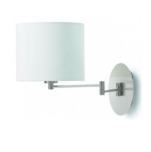 oval Wall Lamp Doble arm articulado E27 Nickel Satin