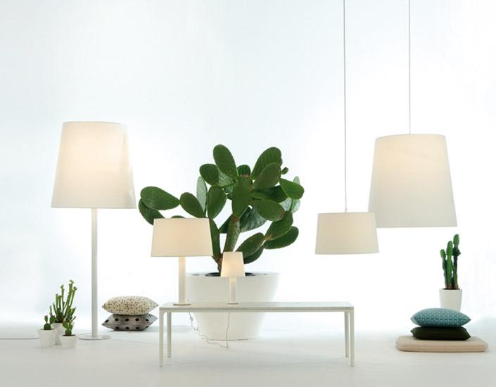 Cotton L Pendant Lamp E27 1x105W white lampshade and floron white