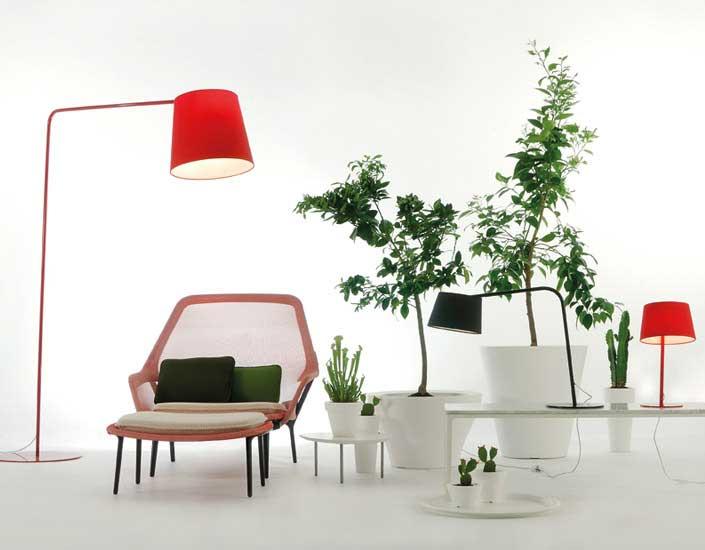 Excentrica lampe von Stehlampe E27 1x70W lampenschirm rot und Stehlampe mit arm Rot