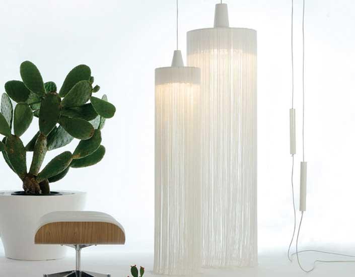 Swing one Pendant Lamp E27 1x42W lampshade cuerda and floron Chrome