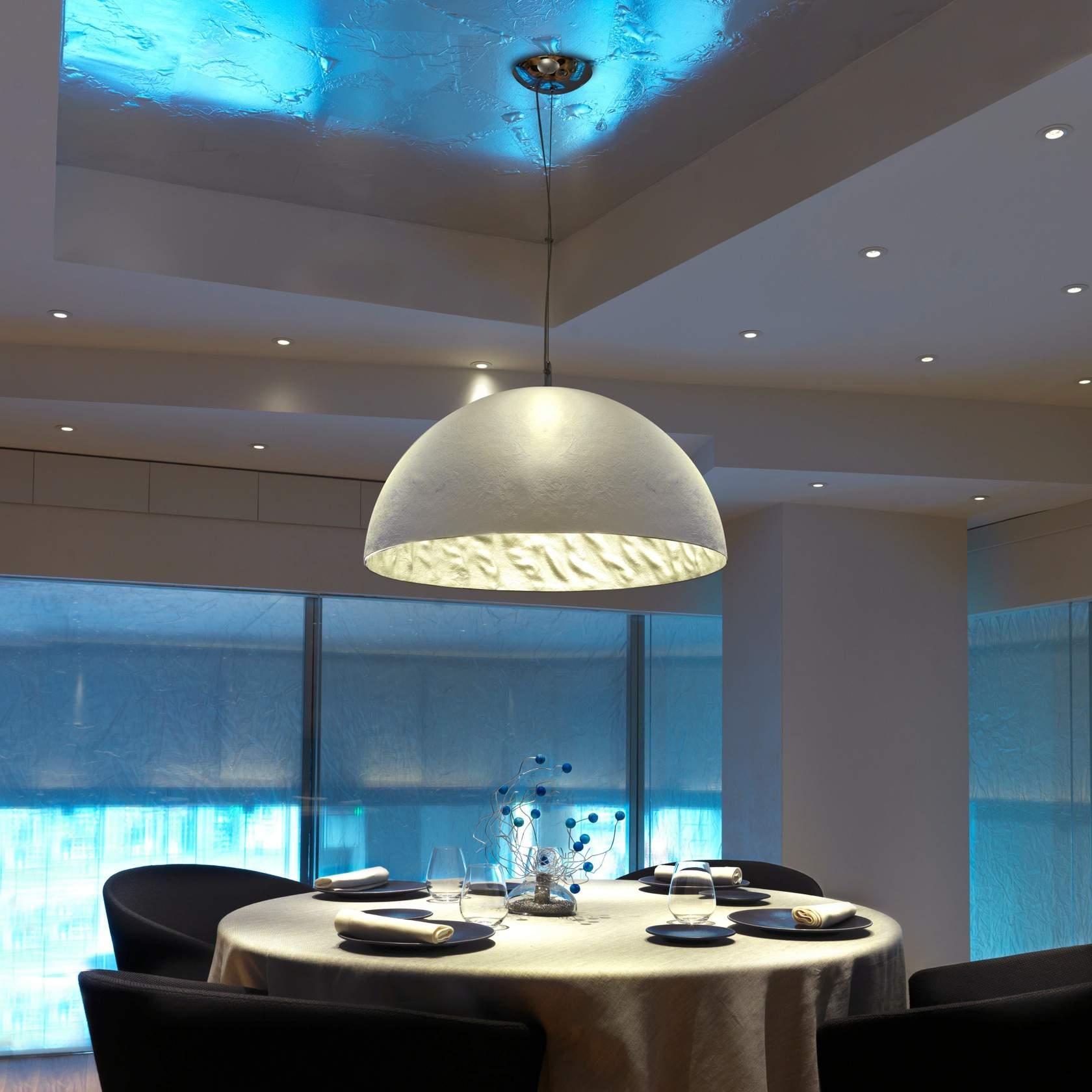 Magma Pendant Lamp Small 3L E27 60w white + Silver ø70cm