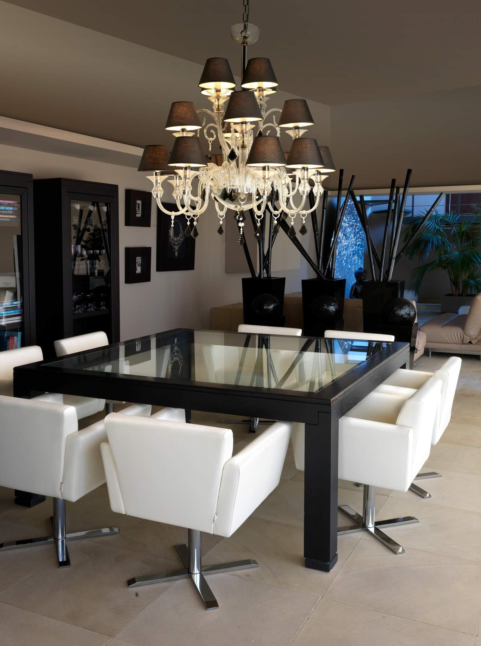 Murano Lámpara Colgante 100cm E14 16x9w negro