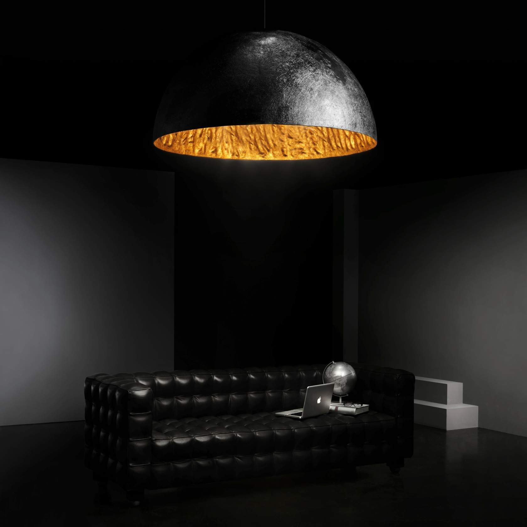 Magma large Pendant Lamp Black + Golden ø120cm 5L E27 40w