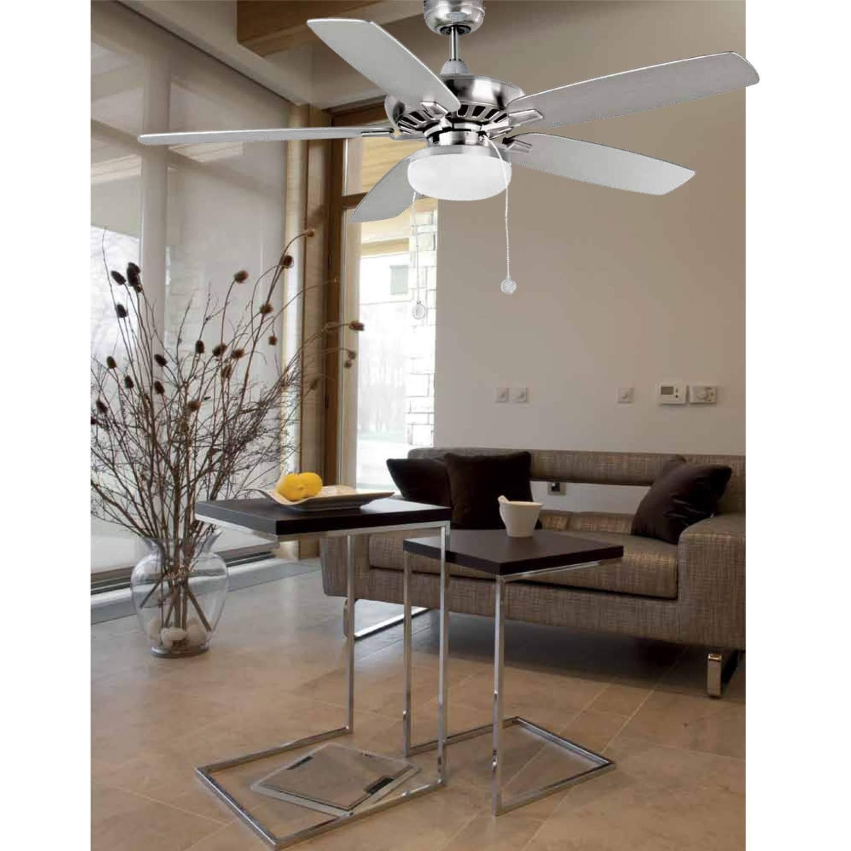Kadmat Fan with light Structure níquel Matt E27 2x15w ø132cm blades Arce/white