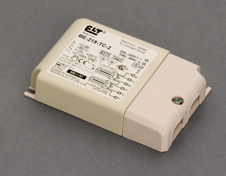 Reactancia electrónica para flurescentes 2x18w (Marca ELT)