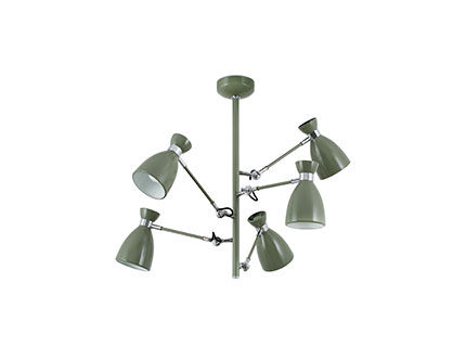 Retro ceiling lamp Green 5l e14 20w