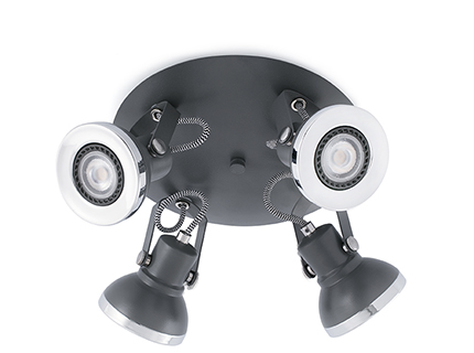Ring 4 ceiling lamp Grey Dark 4 x GU10