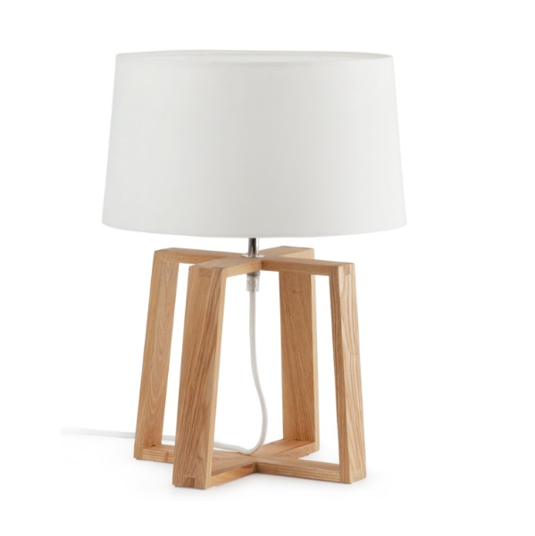 Bliss Table Lamp 1L E27 60w - Structure Wood lampshade textile white