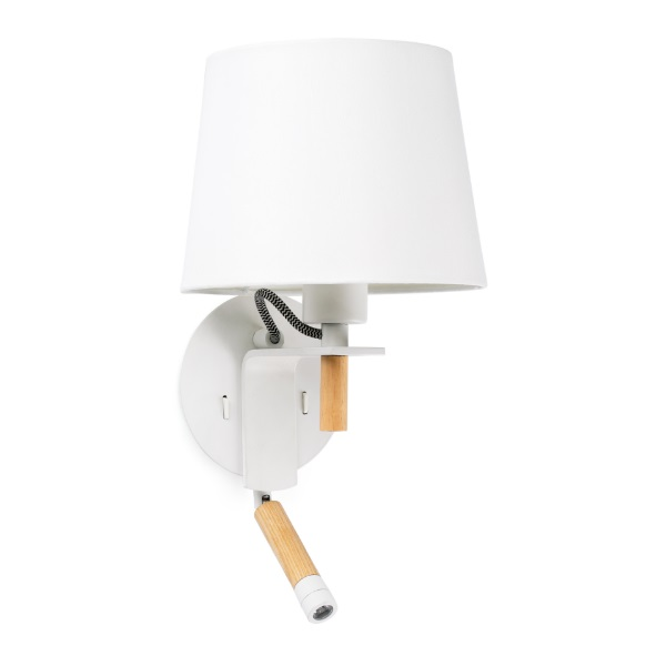 Fusta Wall Lamp white E27 20W with lector LED 3W