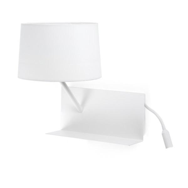 Handy Wall Lamp white left 1XE27 20W USB LED 3W