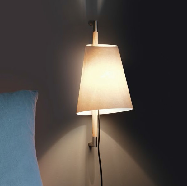 Hanoi Wall Lamp nquel Satin lampshade Grey
