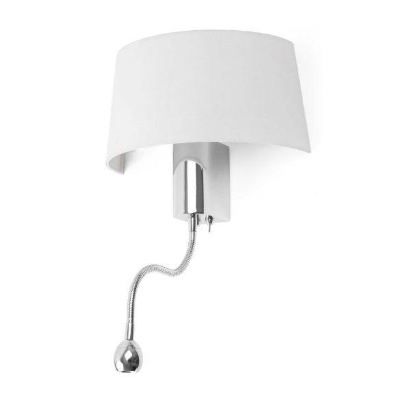 hotel Wall Lamp 1E27 15W with Lector LED - white