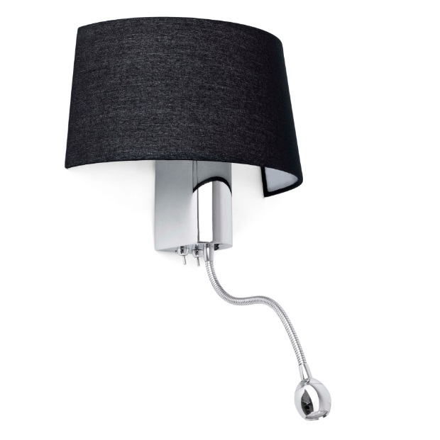 hotel Wall Lamp 1E27 15W with Lector LED - Black