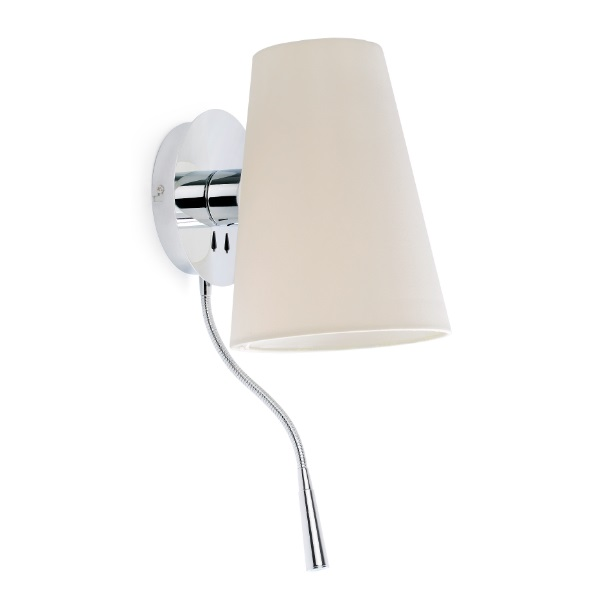 Lupe Wall Lamp Chrome 1XE27 20W + lector LED