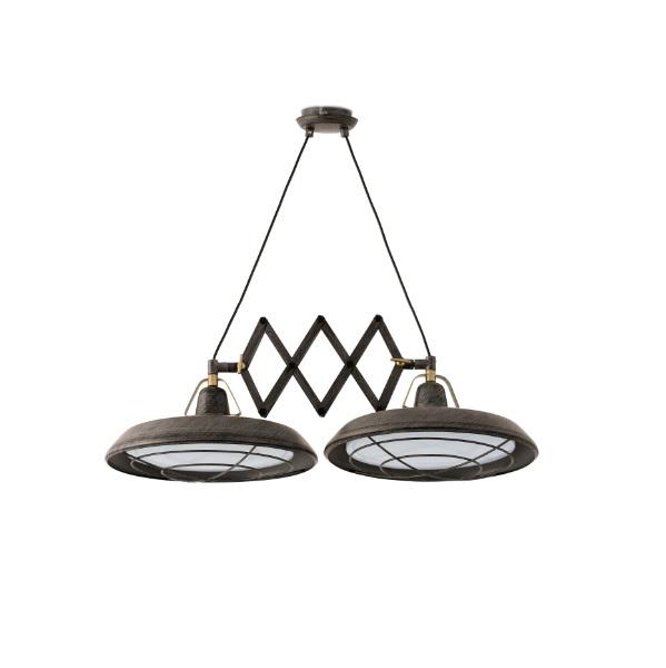 Plec Lámpara Colgante extensible marrón óxido 2xLED