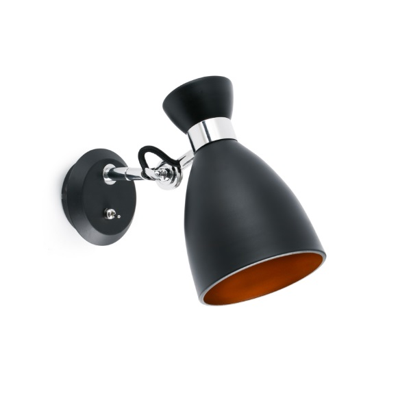 Retro Wall Lamp Black/oro E14 MAX 20W