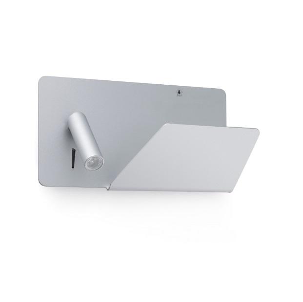 Suau Aplique derecha USB LED 3W Gris Plata