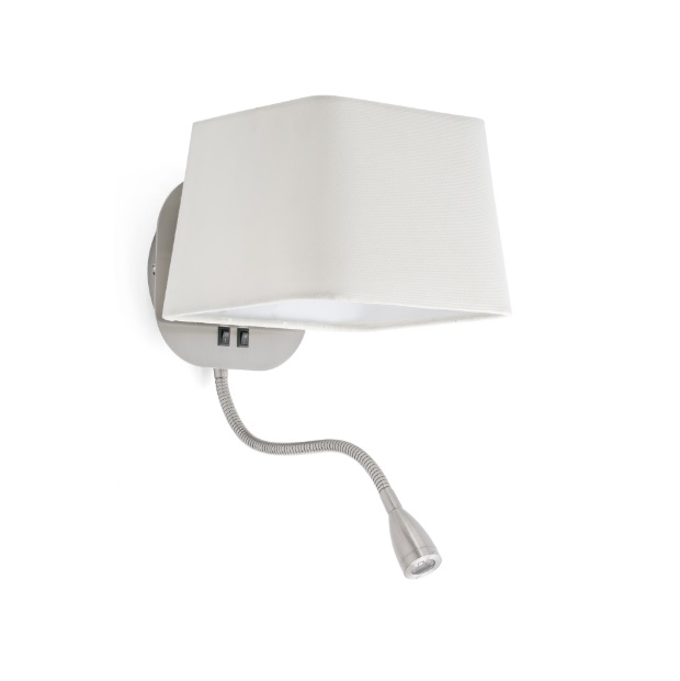 Sweet Wall Lamp E27 15W + lector LED 1W - Nickel Matt lampshade white