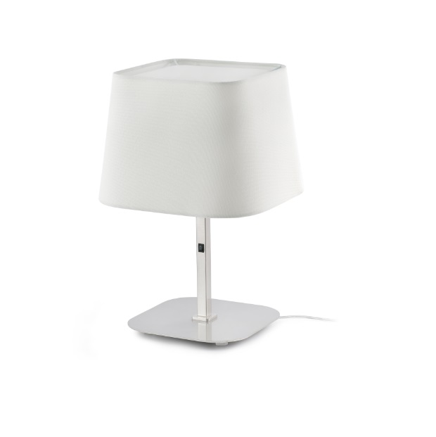 Sweet Table Lamp E27 20w - Nickel Matt lampshade white