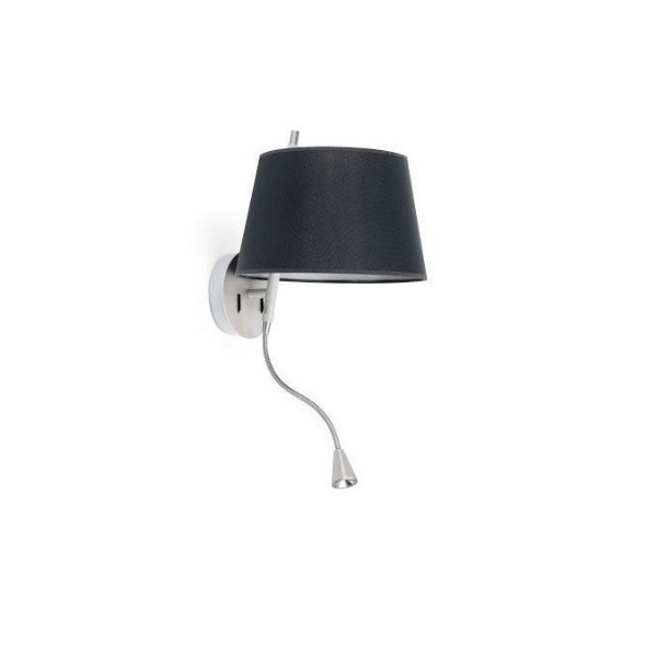 Tango Wall Lamp + lector níquel Satin black lampshade