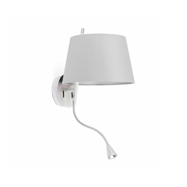 Tango Wall Lamp + lector níquel Satin lampshade Grey