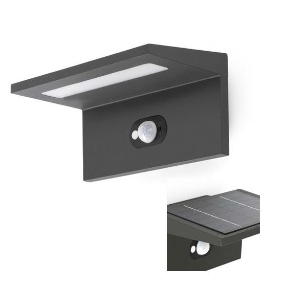 Teba Wandleuchte Grau Dunkel platte solar LED 4000K