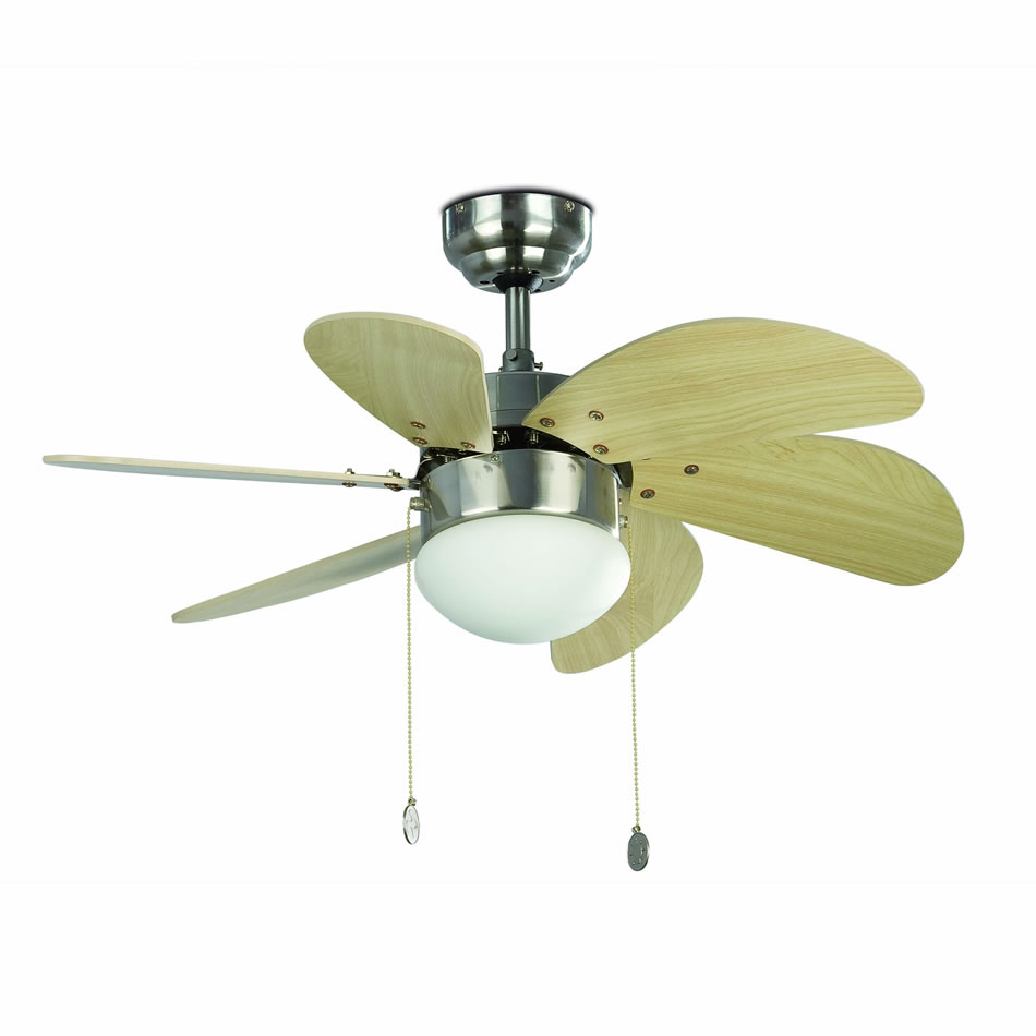 Palao Fan with light 6 blades ø82cm níquel Matt