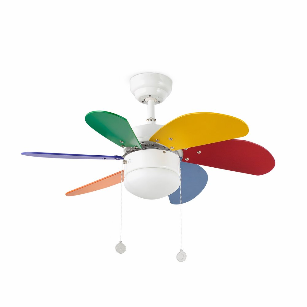 Palao Fan with light ø15.3cm 6 aspas 1xE14 40w Multi colour