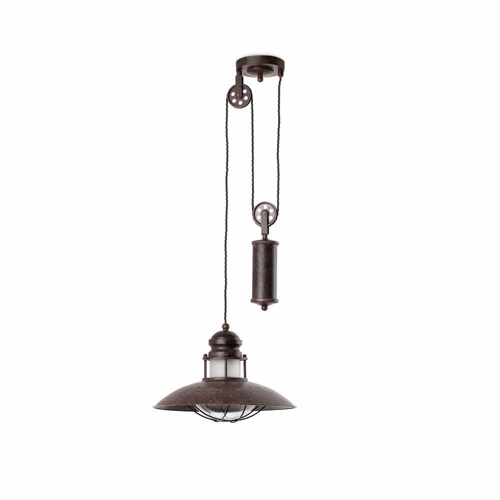 Winch Pendant Lamp with peso x1 E27 60w Brown