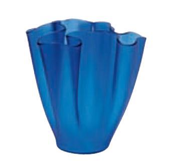 Cartoccio Jarrón 30cm Verre Satiné Bleu