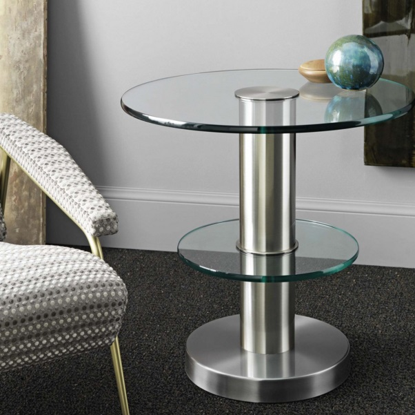 Tavolino small table Glass float ˜61x61cm