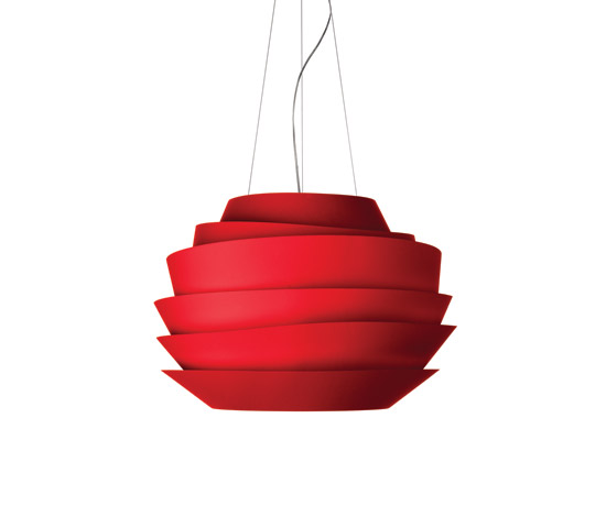 Le Soleil Pendant Lamp ø62cm G9 3x60w + Gu10 75w cable of 5 meters Red