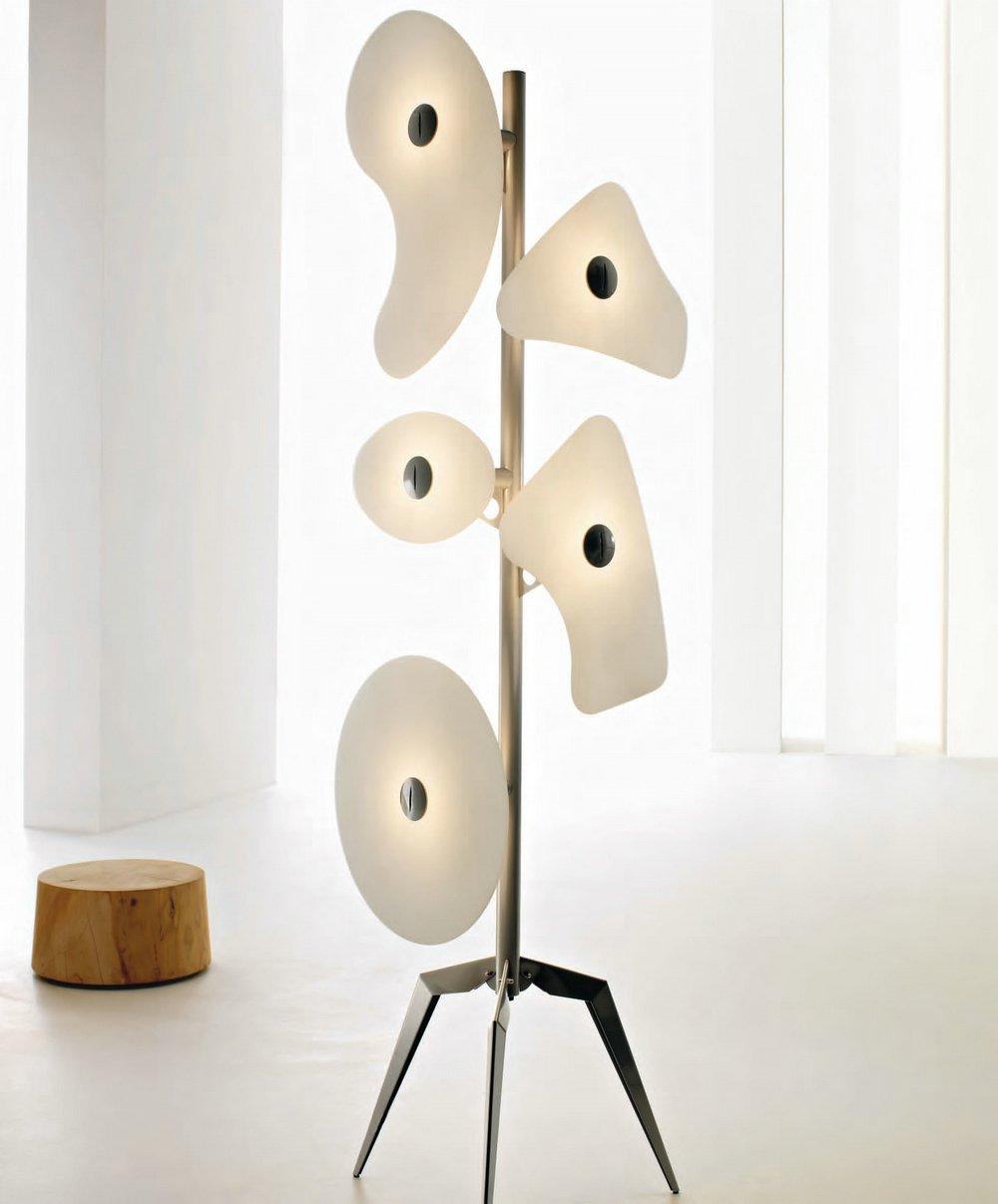 Orbital lámpara de Pie vidrios blancos