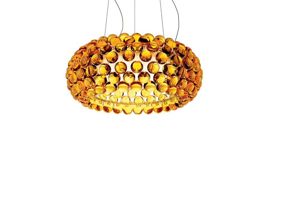 Caboche LED Lámpara Colgante ø50cm LED 35w 3000K cable 5m Amarillo Oro