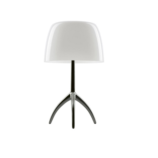 Lumiere Table Lamp pequeña with switch - Structure Aluminium/lampshade white calido