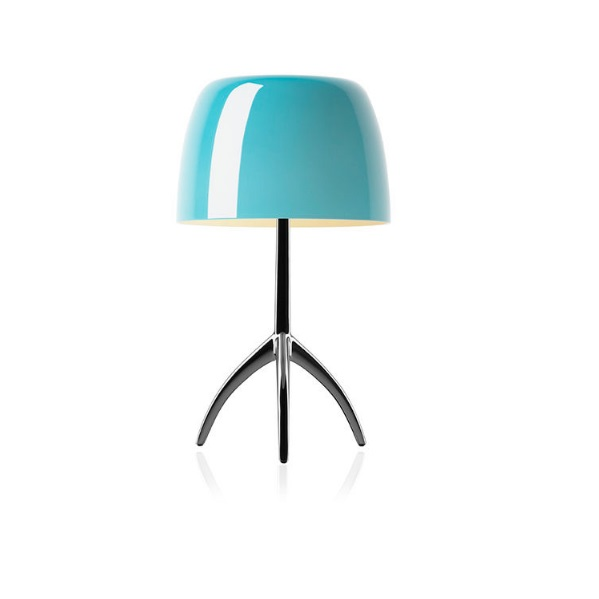 Lumiere Table Lamp pequeña with switch - Structure Chrome Black/lampshade turquoise