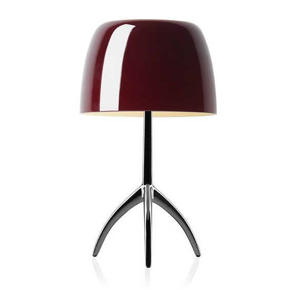 Lumiere Table Lamp pequeña with intensity regulator - Structure Chrome Black/lampshade cherry