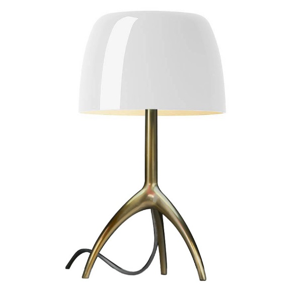 Lumiere Table Lamp pequeña with intensity regulator - Structure Champagne/lampshade white calido