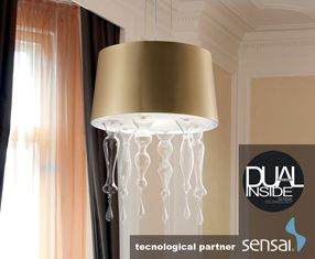 SANTOMA 50 S Pendant Lamp LED dual inside lampshade Gold