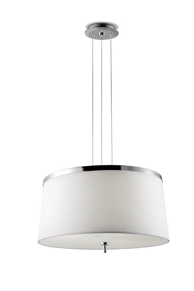 Leila Lámpara Colgante 48cm G9 3x40w + E27 3x23w - Cromo pantalla tela blanca