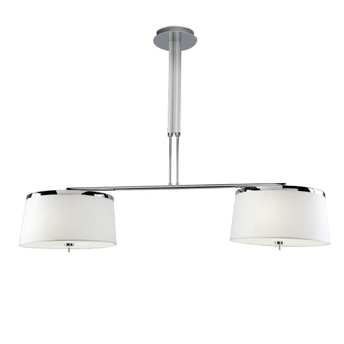 Leila Pendant Lamp Doble G9 4x40w + E14 4x15w - Chrome lampshade fabric white