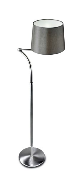 Suite lámpara of Floor Lamp with lampshade 162cm E27 100w Nickel Satin