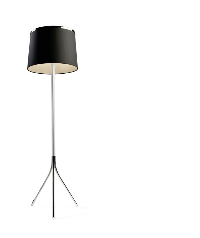 Leila Floor Lamp 175cm E27 3x23w + G9 3x40w - Chrome lampshade fabric white
