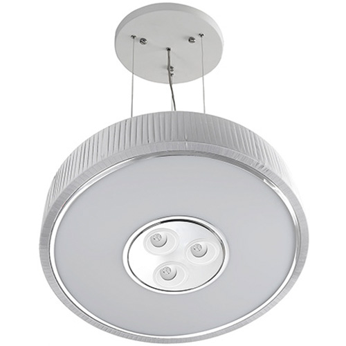 Spin Lámpara Colgante ø100cm 7x30w PL E27 + 3 Downlights Cree LED Orientables 4w 350mA 2900ºK blanco
