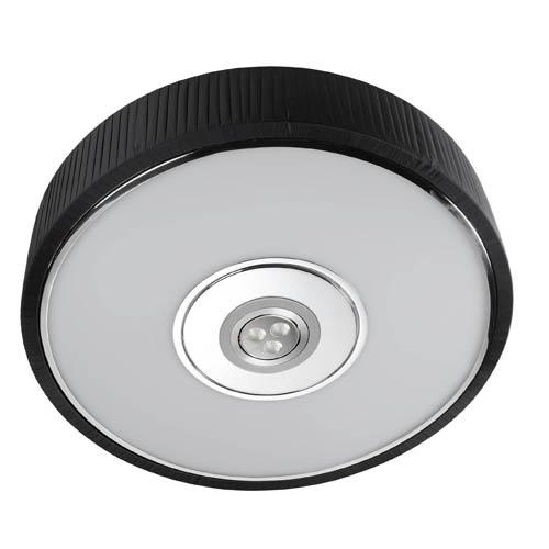 Spin Plafón ø45cm 3x30w PL E27 + Cree LED 350mA 3w 2900ºK negro
