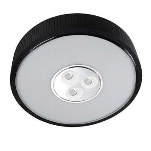 Spin Plafón ø100cm 7x30w PL E27 + 3 Downlights Cree LED Orientables 4w 350mA 2900ºK negro