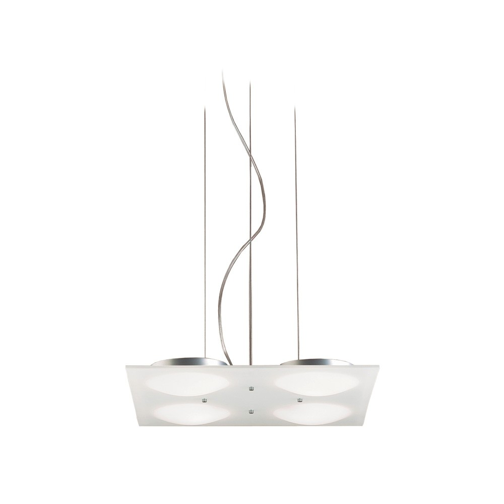 Duna Pendant Lamp square 42cm 4xG9 75w Aluminium Satin Glass Matizado