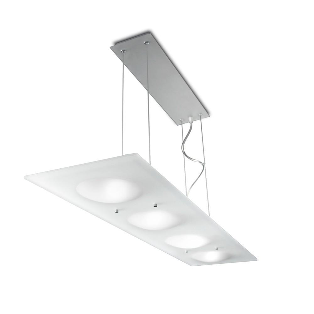 Duna Pendant Lamp rectangular 91cm 4xG9 75w Aluminium Satin Glass Matizado