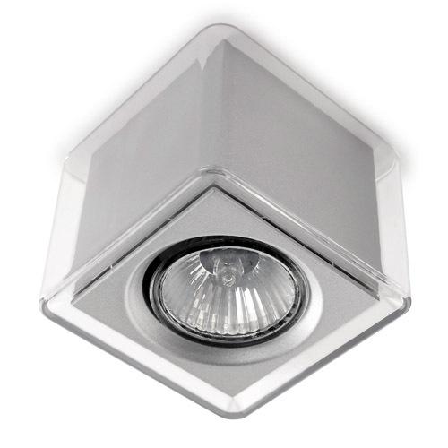LedBox ceiling lamp Square polycarbonate Transparent GU10 - Transparent/Grey