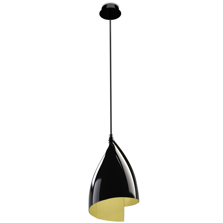 Tulip Lámpara Colgante 1xE27 MAX 23W - negro Lacado Dorado